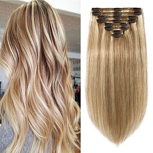 Extension capelli veri clip 8 fasce/pacchetto double weft con 18clips 120g 12p613 marrone dorato & biondo sbiancante 35cm