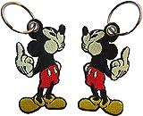 Mickie Micky Maus mouse Mittelfinger gestickter Schlüsselanhänger Key Chain