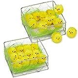 COM-FOUR® polluelos de chenilla 24x en amarillo, decoración para Pascua (024 piezas - polluelos en la jaula)