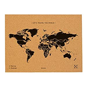 """Miss Woody Wood Map L-Mapa del mondo di sughero, motivo """"My world, colore: nero"""