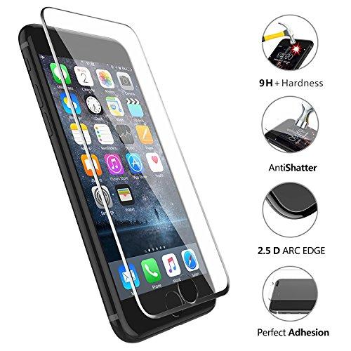 VAPIAO [Panzerglas mit Silikonlippe [Panzerglasfolie] kompatibel mit iPhone 8, 7 Full Cover Panzerfolie 9H 3D Curve Glasprotektor Glasfolie Clear Schutzfolie Echtglas