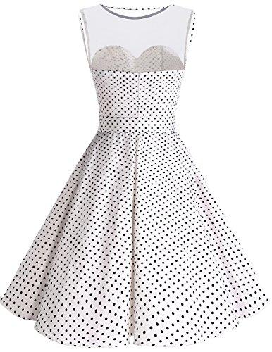 Bridesmay 1950er Vintage Rockabilly Ohne Arm Festlich Partykleid Cocktailkleid White Small Black Dot