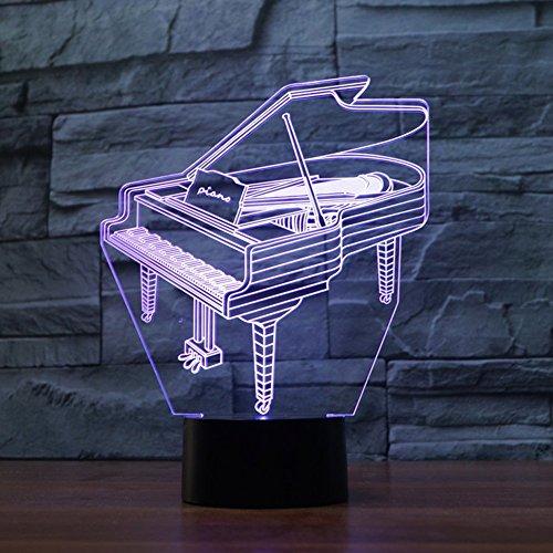LED Nachtlicht,KINGCOO Magical 3D Visualisierung Amazing Optische Täuschung Touch Control Light 7 Farben ändern Schreibtischlampen für Kinderzimmer Home Decoration Best Geschenk (Piano) - 2