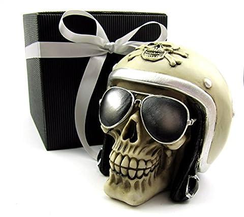 Totenkopf Toten-Schädel Skull Biker mit Motorradhelm und Sonnenbrille als Spardose im Geschenk-Set, in eleganter schwarzer Geschenk-Box mit Schleifenband, Geschenk für Frauen, Männer, Gothic, Mystik, Fantasy, Weihnachtsgeschenk, Party-Geschenk, Halloween, Spardose