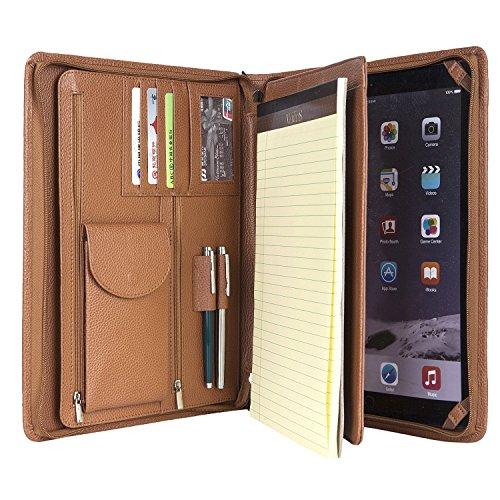 Preisvergleich Produktbild Coface Compact Professional Litschi Korn Leder Organizer Padfolio für 12,9 Zoll iPad Pro, Junior Legal (A4) Papier
