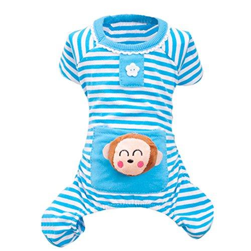 Mascotas algodón a rayas pijama de dormir de bolsillo de tela Pequeño...