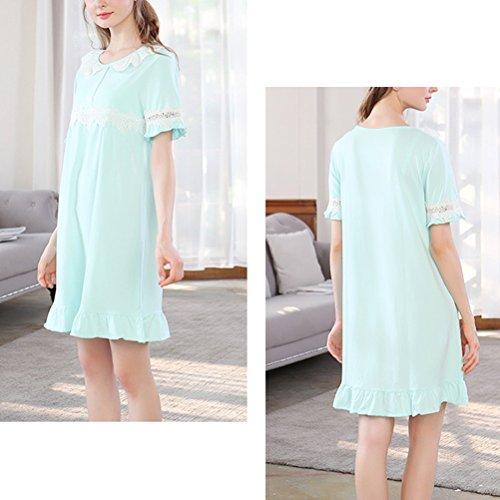 Zhhlaixing Womens Comfortable Cotton Sleep Skirt Pajama Summer Short sleeves Sleepwear Green