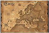 Wallario Poster - Alte Weltkarte Karte von Europa in englisch in Premiumqualität, Größe: 61 x 91,5 cm (Maxiposter)