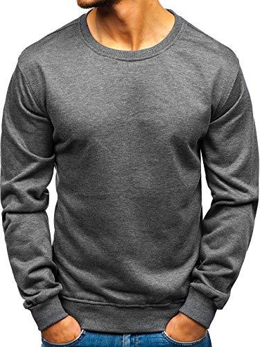 BOLF Herren Sweatshirt ohne Kapuze Basic Sport Style J.Style 22003 Dunkelgrau L [1A1]
