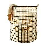 HBOS Große Wäschekorb Runde Wäschesammler Faltbare Wäschesack Baumwolle Leinen - 40 * 40 * 50 cm