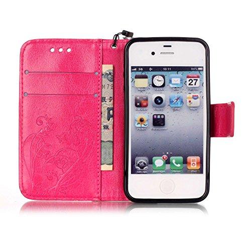 iPhone Case Cover IPhone 4 4S Folio Flip Stand Case, étui de portefeuille avec trésorerie et fente de carte Premium PU Housse en Silicone en cuir pour iPhone 4 4S ( Color : Black , Size : IPhone 4S ) Rose