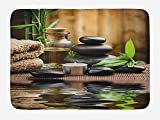 Spa Bath Mat, Asian Zen Massage Stone Triplets with Herbal Oil and Scent Candles Print, Plush Bathroom Decor Mat with Non Slip Backing, 23.6 W X 15.7 W Inches, Black Brown and White