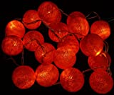 Stoff Ball LED Lichterkette orange / Kugel Lichterketten