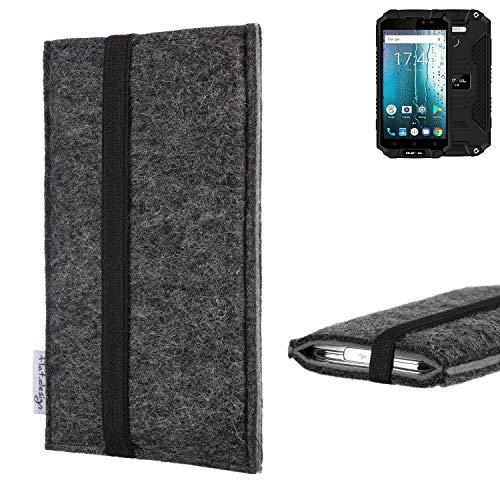 flat.design Handyhülle Lagoa für Oukitel K10000 MAX | Farbe: anthrazit/grau | Smartphone-Tasche aus Filz | Handy Schutzhülle| Handytasche Made in Germany