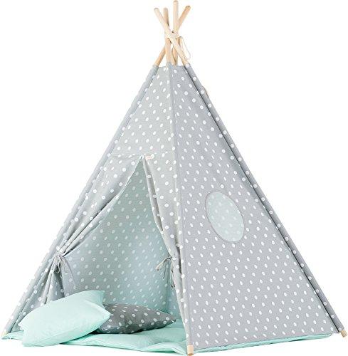 wigiwama Dots grau Teepee mit Mint Matte (Kleinkind Bettwäsche Dots)
