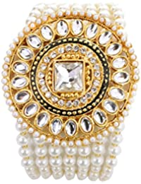 Saraa Gold Plated Cubic Zirconia Metal Pearl Loaded White Bracelet with Brooch for Girls and Women