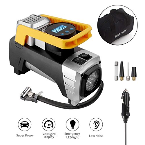 GEKER Compresor de Aire Portátil 12V 150 PSI con LED Luz Emergencia Inflador de Neumáticos Digital para Vehículos