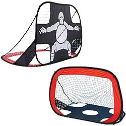 Shinehalo But de Foot 2 en 1 Cage de Football Portatif Pliable Parc Jardin Plage Plein Air Enfants 105 * 75 * 75 cm Noël Anniversaire