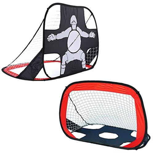 Shinehalo 2 in 1 Tragbare und Faltbare Pop up Fußballtor für Kinder,Indoor und Outdoor Sport Schießübungen Selbstaufstellende Fußballtor, mit Tragetasche(105*75*75cm) - Rot
