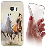 Samsung S5 Mini G800 Softcase Hülle Cover Backkover Softcase TPU Hülle Slim Case für Samsung Galaxy S5 Mini G800 (1084 Pferd Pferde Braun Weiß)