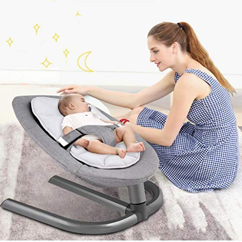 Disassembly And Washing Rocking Chair Aluminum Lazy Sleeping Lay Basket Appease Swing 2 Color 60cm*40cm MUMUJIN (Color : Gray)