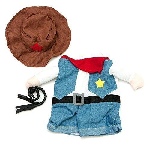 Midlee Große Fake Cowboy-Kostüm für Kleine Hunde - Hund Kleiner Cowboy-hut