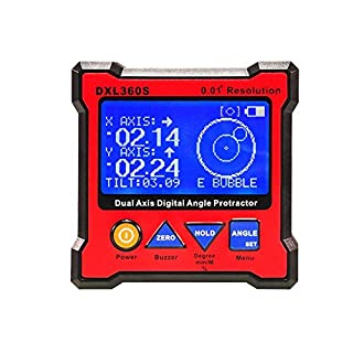 ckground laser level DXL360S High-precision, Protractor Dual Axis Digital Angle, Level Dual-axis Digital Display Gauge with 5 Side Magnetic Base