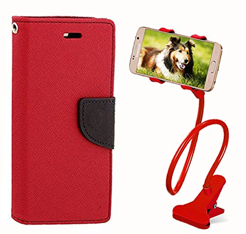 Aart Fancy Diary Card Wallet Flip Case Back Cover For Lenovo K4 note - (Red) + 360 Rotating Bed Tablet Moblie Phone Holder Universal Car Holder Stand Lazy Bed Desktop for by Aart store.