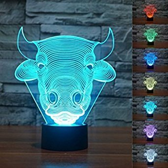 3D Bull Kuh Illusions-Lampen, Tolle 7 Farbwechsel Acryl berühren Tabelle Schreibtisch-Nachtlicht mit USB-Kabel für Kinder Schlafzimmer Geburtstagsgeschenke (Baseball Kit Dekoration)