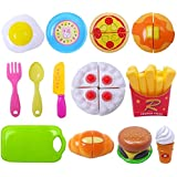LQZ 13pcs Plastic Children Kids Educational Cutting Toy Set Kitchen Food Pretend Play