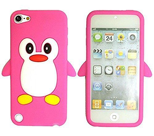 TSMINE Apple Ipod Touch 5. und 6. Generation Pinguin Cartoon Case - Cute 3D Penguin Soft Silikon zurück waschbar Cover Case Schutzhülle für iPod Touch 5. & 6. Generation, Rosa