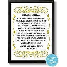 DANKE FÜR ALLES - Bild Danksagung für Eltern – Rahmen optional – Geschenk Geschenkidee zu Weihnachten, zum Geburtstag oder Hochzeitstag