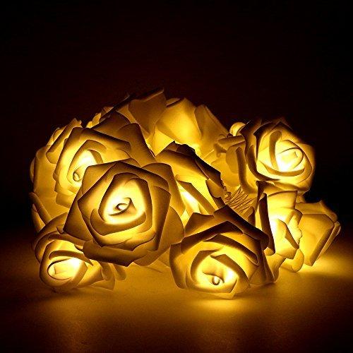 (Blumen LED Lichterkette, Rusee 20 LED Rosen Lichterkette Batteriebetrieben Innen Im Freien Beleuchtung für Garten Rasen Bar Verein Hochzeit Valentinstag Weihnachten Schlafzimmer Innendekoration)