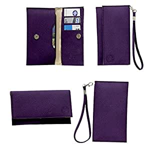 Jo Jo A5 G8 Leather Wallet Universal Pouch Cover Case For Micromax X263 Purple