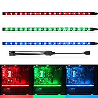 WOWLED RGB Gaming LED Strip Lights (Pack of 3 Strips) for Mid Tower PC Case Lighting, Gamer DIY for Aura Sync and M/B with 4pin RGB Header 30cm 5050 SMD with Magnet