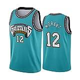 Men's Basketball Jersey Ja Morant 12#, Ademend Slijtvast Geborduurde Sweatshirt T-shirt + Shorts, XS-XXL, FHI284IHF (Size : L)