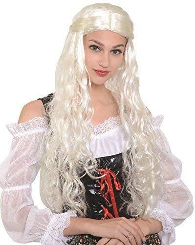 Fancy Me Damenkostüm für Damen, Weiß Dragon Regina Thrones Spiel Khaleesi TV Buch Film Medievale Storico Renaissance Halloween Kostüm Perücke