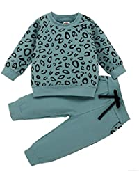 Mooua Infant Baby Girls Boys Leopard Print T-Shirt Sweater Coat Tops Pants Outfits