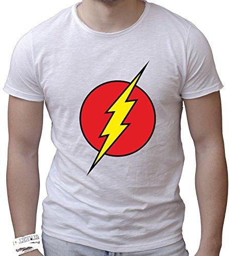 T-shirt cotone fiammato Scollo ampio a taglio vivo - FLASH THEBAZINGA sheldon cooper divertenti humor MADE IN ITALY Bianco