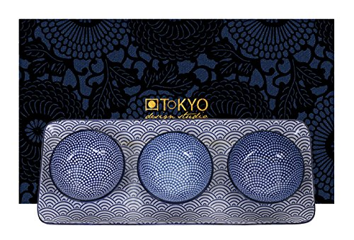Tokyo Design Studio, 1 Plat 33.5cm + 3 Bol en porcelaine Diamètre: 9.5cm, motif Nippon Blue - Coffret de 4