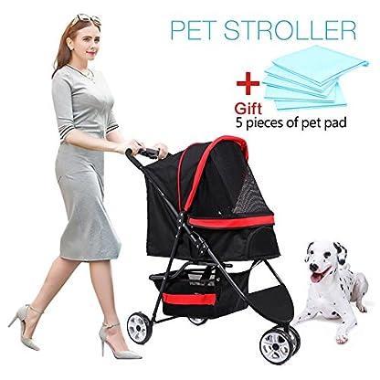 Pet Travel Stroller Three Wheels Cat Dog Pushchair Trolley,Puppy Carrier,Shockproof,Single Front Wheel 360° Rotation… 1