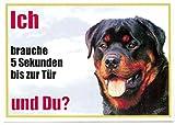 WARNSCHILD Rottweiler von vorn 031 ca. 21 x 15 cm laminiert wasserabweisend Motiv : Ich brauche 5 Sekunden bis zur Tür und Du ? Verwendbar im Innen und Außenbereich