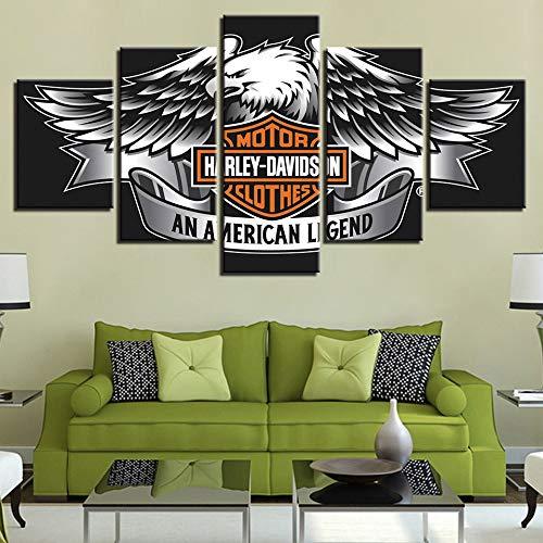 xiaohuhu Dekorative Malerei 5-teiliges Set, mit Rahmen, modernes Zuhause Wohnzimmer Schlafzimmer HD Kunst Harley Davidson Logo Malerei