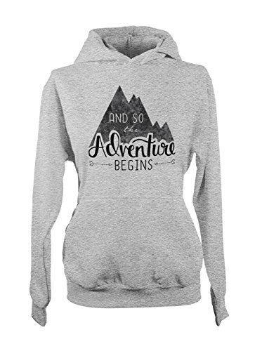 And So The Adventure Begins Mountains Hiking Holiday Traveling Damen Hoodie Sweatshirt Grau Small
