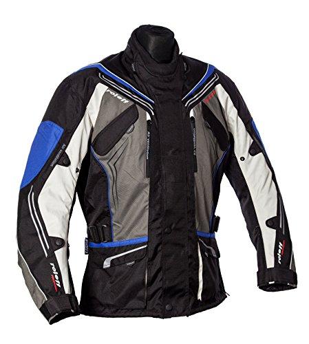 Motorradjacke schwarz-grau-blau mit Protektoren, Belüftungssystem, Klimamembrane und herausnehmbarem Thermofutter