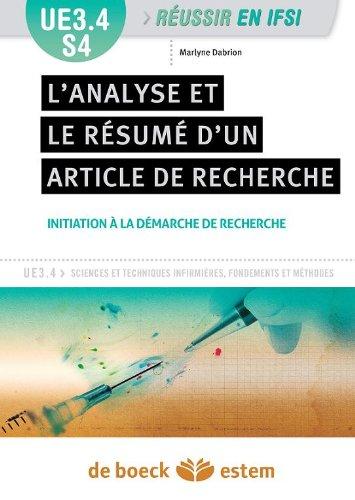 UE 3.4 - L'analyse et le résumé d'un article de recherche - Semestre 4 par Marlyne Dabrion