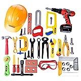 PHYNEDI Toys Spielwerkzeug, 37-TLG Werkzeugkasten aus Kunststoff Werkzeugkoffer Tool Set Kinder Rollenspiel Geschenke für ab 3 Jahren