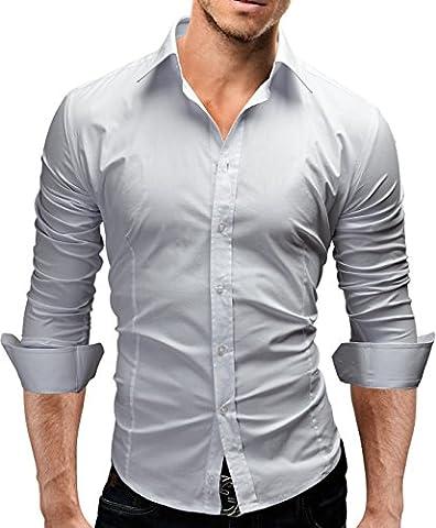 Merish Hemd Slim Fit 14 Farben Größen S-XXL Herren Modell 01 Weiß M