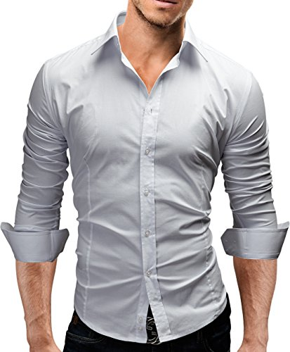 Merish camicia uomo slim fit 14 colori taglia s - xxl modell 01 bianco l