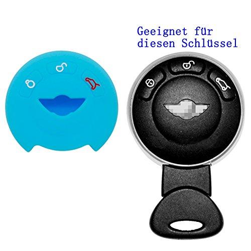 RotSale® 1x Leuchtend Türkis Schlüsselhülle Autoschlüssel für BMW MINI Etui Silikon Schutzhülle Tasche Gehäuse 3 Tasten Fernbedingung